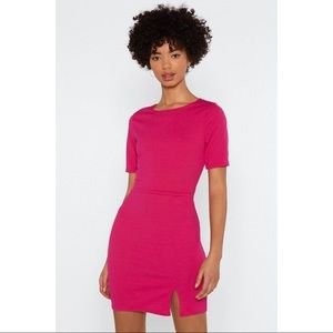 Nasty Gal Hot Pink Slit Down Bodycon Dress